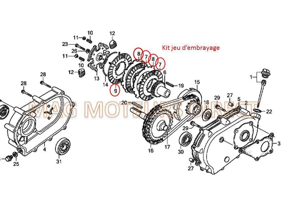 kit embrayage pour honda gx120  gx140  gx160  gx200  gx240  gx270