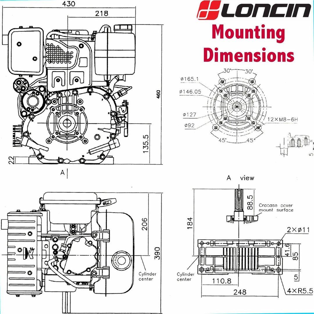 loncin d350fd motor gasoil 349ccm