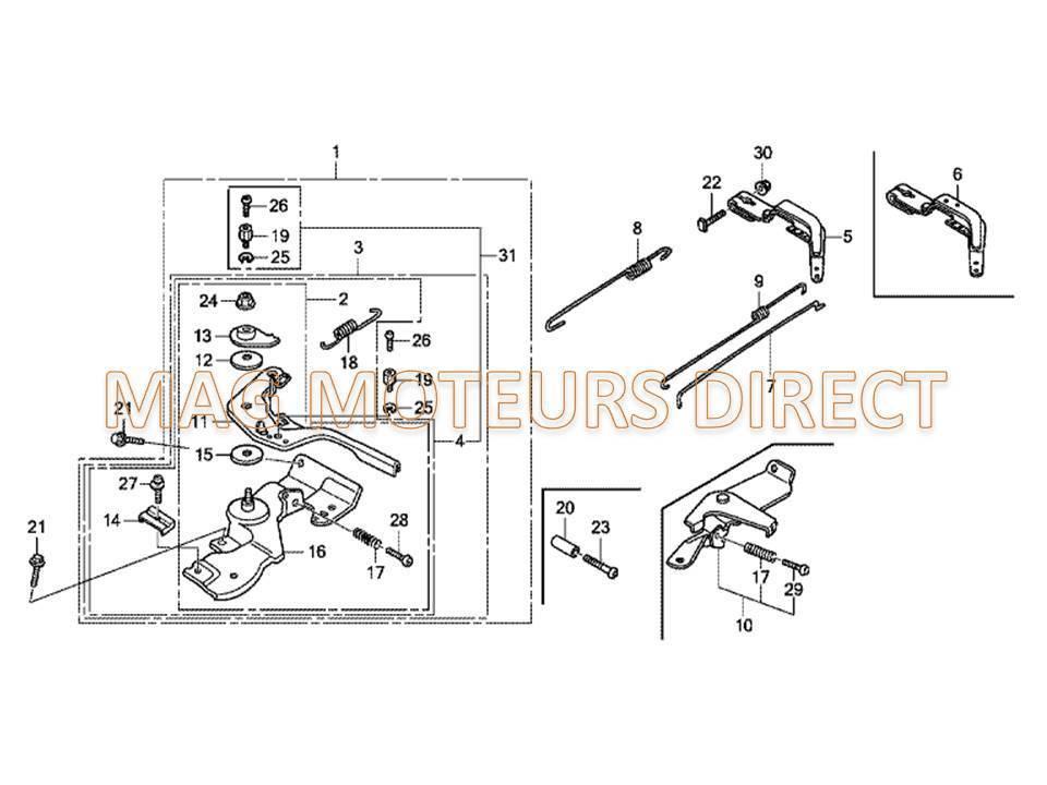 manette de gaz pour honda gx140 160 200. Black Bedroom Furniture Sets. Home Design Ideas